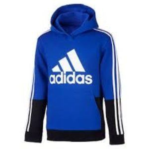 Adidas boys Youth Fleece Hoodie Blue Blck  L 14-16